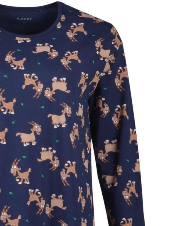 Woody Meisjes-Dames pyjama, donkerblauw met geit