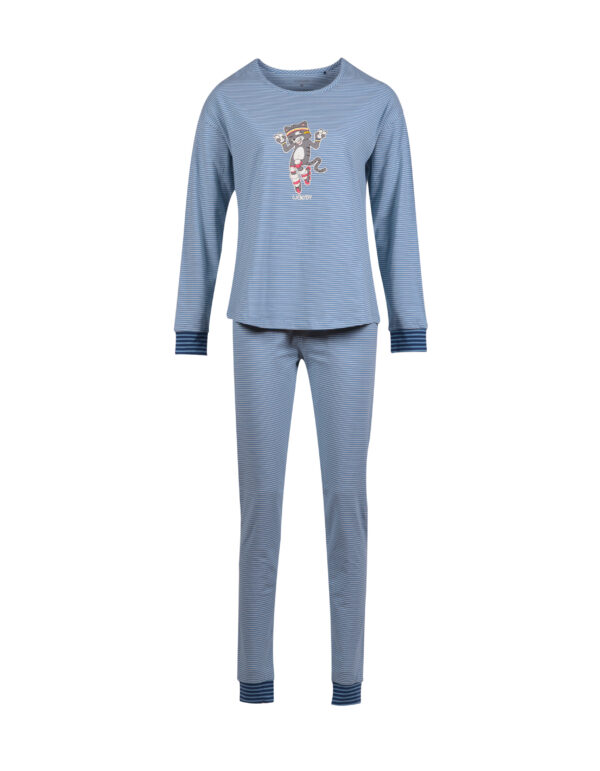 Woody Meisjes-Dames pyjama, grijs met kat gestreep