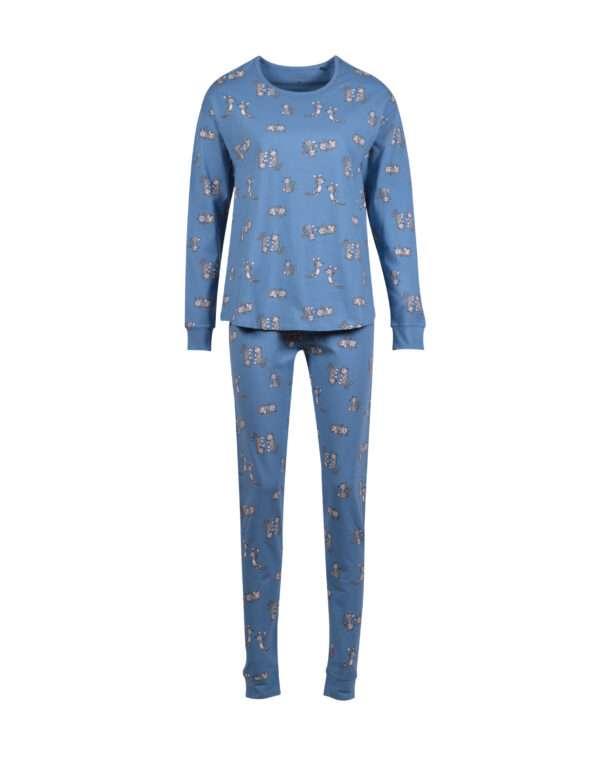 Woody Meisjes-Dames pyjama, blauw met kat