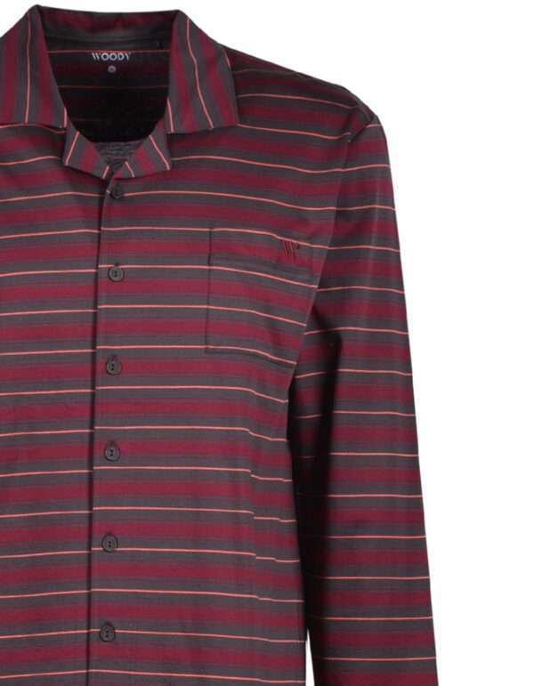 Woody Heren pyjama, bordeaux-anthraciet gestreept