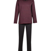 Woody Heren pyjama, bordeaux-anthraciet gestreept