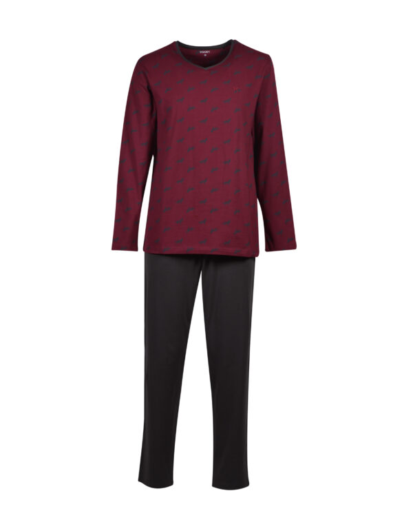 Woody Heren pyjama, bordeaux met wolf