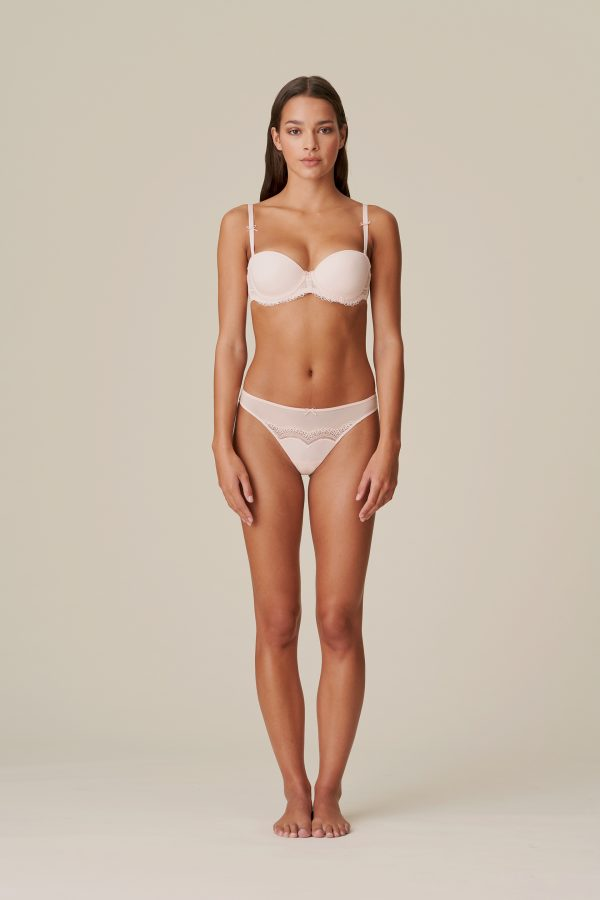 DOLORES glossy pink mousse bh - strapless