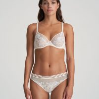 NATHY Pearled Ivory deep plunge wire bra