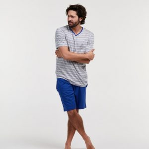 Woody Heren pyjama, blauw gebroken wit gestreept