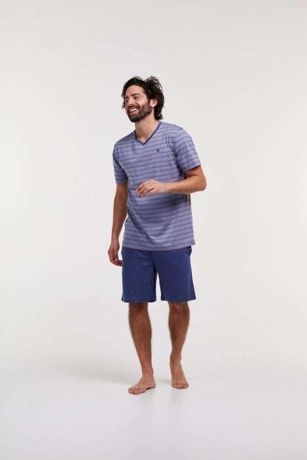 Woody Heren pyjama, blauw beige gestreept