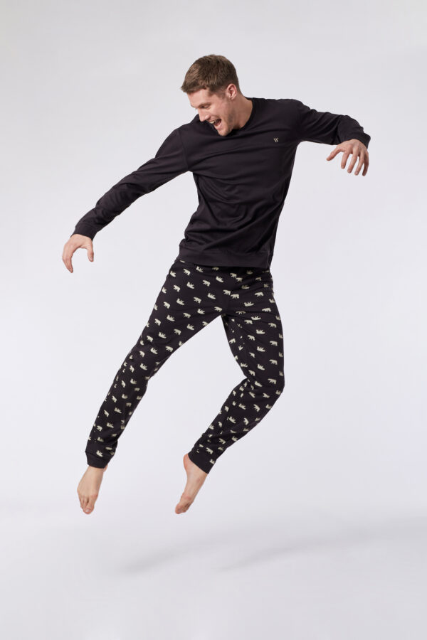 Woody Heren pyjama, antraciet