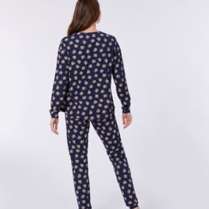 Woody Meisjes-Dames pyjama, donkerblauw hooglander